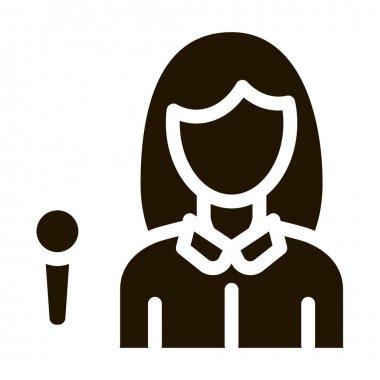 Reporter Woman glyph icon vector. Reporter Woman Sign. isolated symbol illustration icon