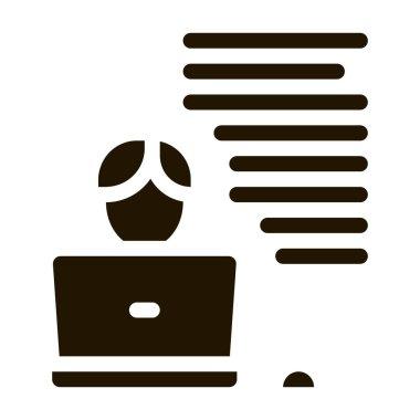 Writer Laptop glyph icon vector. Writer Laptop Sign. isolated symbol illustration icon