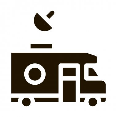 Reporter Truck glyph icon vector. Reporter Truck Sign. isolated symbol illustration icon