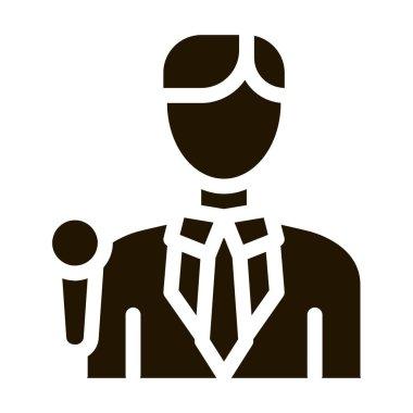 Journalist Man glyph icon vector. Journalist Man Sign. isolated symbol illustration icon