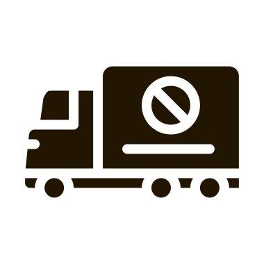 Truck Cross Mark glyph icon vector. Truck Cross Mark Sign. isolated symbol illustration icon
