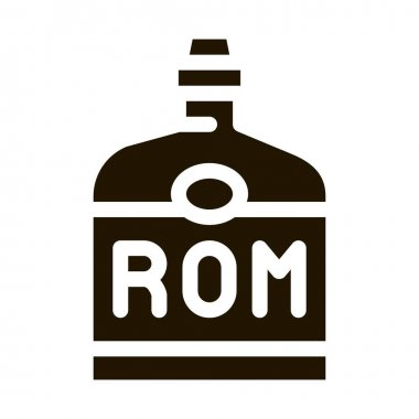 Rum Drink Bottle glyph icon vector. Rum Drink Bottle Sign. isolated symbol illustration icon