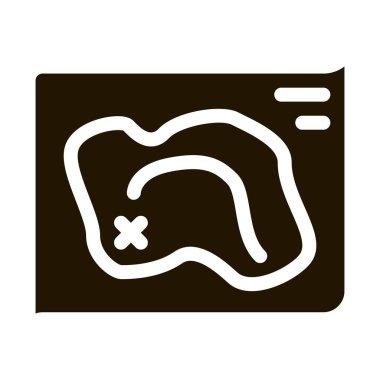 Map Treasure glyph icon vector. Map Treasure Sign. isolated symbol illustration icon