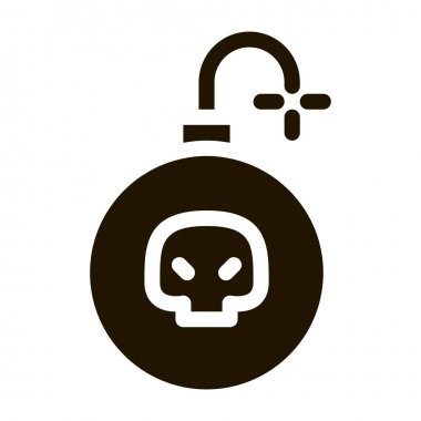 Burning Bomb glyph icon vector. Burning Bomb Sign. isolated symbol illustration icon