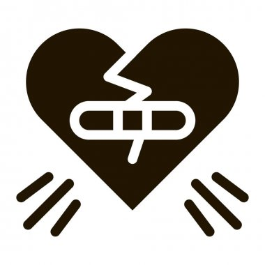 Glued Heart glyph icon vector. Glued Heart Sign. isolated symbol illustration icon