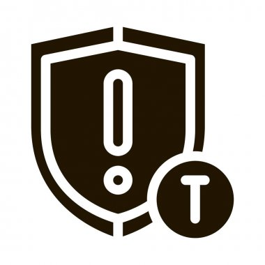 Cautionary Shield glyph icon vector. Cautionary Shield Sign. isolated symbol illustration icon
