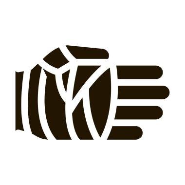 Fist in Protective Bandage glyph icon vector.  Fist in Protective Bandage Sign. isolated symbol illustration icon
