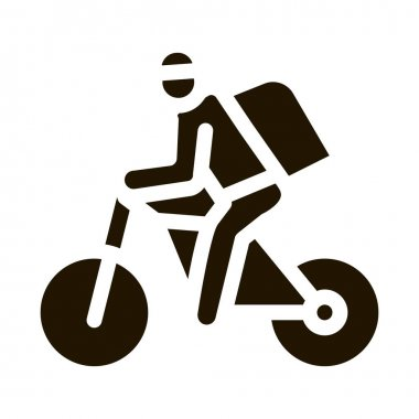 Courier Delivery by Bicycle glyph icon vector.  Courier Delivery by Bicycle Sign. isolated symbol illustration icon