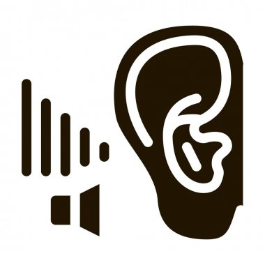 Bad Hearing glyph icon vector. Bad Hearing Sign. isolated symbol illustration icon