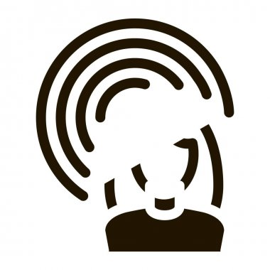 Female Hearing glyph icon vector. Female Hearing Sign. isolated symbol illustration icon
