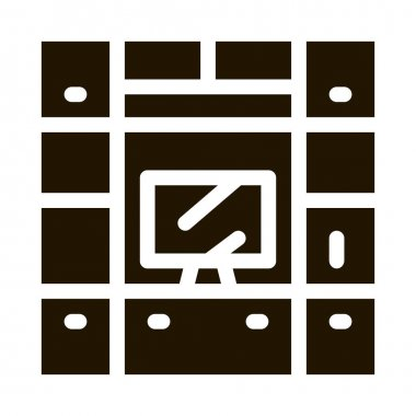 Workplace with Computer glyph icon vector. Workplace with Computer Sign. isolated symbol illustration icon