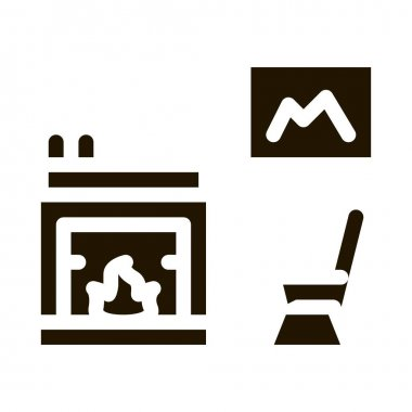 Rocking Chair near Fireplace glyph icon vector. Rocking Chair near Fireplace Sign. isolated symbol illustration icon