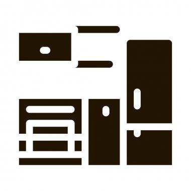 Kitchen with Fridge glyph icon vector. Kitchen with Fridge Sign. isolated symbol illustration icon