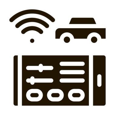 Geolocation Machines via Wi-Fi glyph icon vector. Geolocation Machines via Wi-Fi Sign. isolated symbol illustration icon