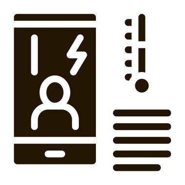 Temperature Phone glyph icon vector. Temperature Phone Sign. isolated symbol illustration icon