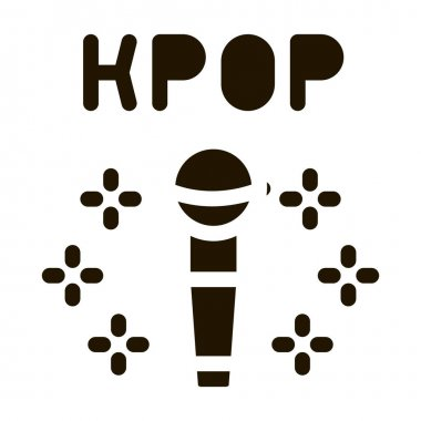 Kpop Microphone glyph icon vector. Kpop Microphone Sign. isolated symbol illustration icon