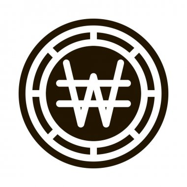 Krw Won Currency glyph icon vector. Krw Won Currency Sign. isolated symbol illustration icon