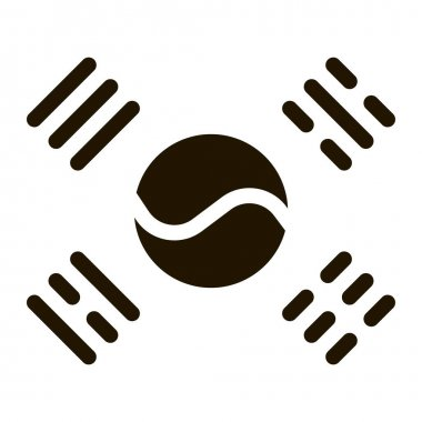 South Korea Flag glyph icon vector. South Korea Flag Sign. isolated symbol illustration icon
