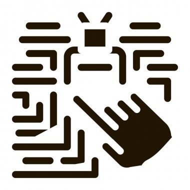 Hand Touch Chip glyph icon vector. Hand Touch Chip Sign. isolated symbol illustration icon