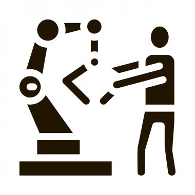 Man And Robot Arm glyph icon vector. Man And Robot Arm Sign. isolated symbol illustration icon