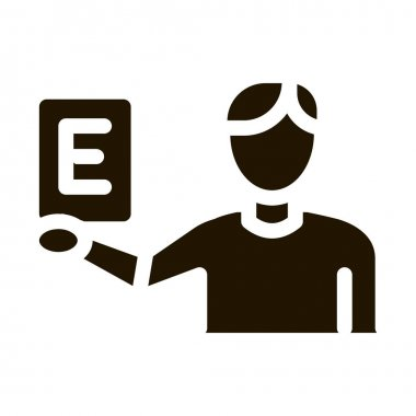 Man Show Letter glyph icon vector. Man Show Letter Sign. isolated symbol illustration icon
