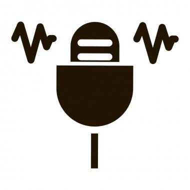 Microphone Waves glyph icon vector. Microphone Waves Sign. isolated symbol illustration icon