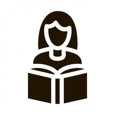 Girl Reading Book glyph icon vector. Girl Reading Book Sign. isolated symbol illustration icon