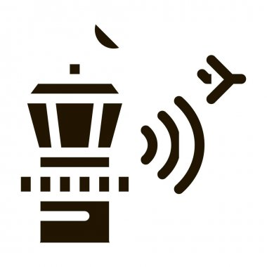 Airport Control Tower Radar Icon Vector. Air Flight Controller Tower Pictogram. Technical Block Monochrome Sign isolated symbol illustration icon
