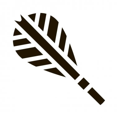 Arrow Feather Plumage Detail Icon Vector. Archery Activity Sport Equipment Fletching Arrow Pictogram. Black And White Sign isolated symbol illustration icon