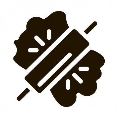 Dough And Wooden Rolling Pin Icon Vector. Wood Material Rolling Pin Kitchenware Pictogram. Tool For Cooking Monochrome Sign isolated symbol illustration icon