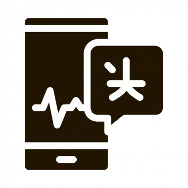 Voice Wave On Phone Screen Icon Vector. Smartphone Interpreter Sound Application For Study Language Pictogram. Monochrome Sign isolated symbol illustration icon