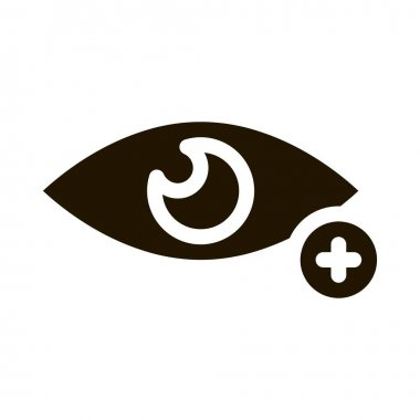 Farsightedness And Hyperopia Icon Vector. Farsightedness Eye With Plus Mark Pictogram. Vision Problem Black And White Sign isolated symbol illustration icon