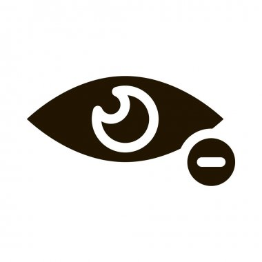 Diopter Myopia Eye Vision Icon Vector. Eye With Minus Mark Pictogram. Eyesight Problem Clinic Aid Black And White Sign isolated symbol illustration icon