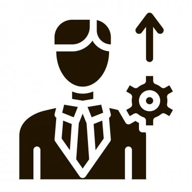 Human Productivity Growth Icon Vector. Businessman Silhouette With Growth Arrow And Mechanical Gear Pictogram. Monochrome Sign isolated symbol illustration icon
