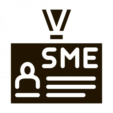 Sme Worker Badge With Photo Icon Vector. Company Badge, Pass Document With Employee Information Pictogram. Monochrome Sign isolated symbol illustration icon