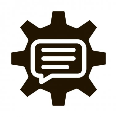Quote Frame In Gear Center Icon Vector. Gear Mechanical Process For Communication And Discussion Pictogram. Monochrome Sign isolated symbol illustration icon
