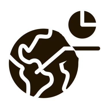 International Statistician Icon Vector. Worldwide Statistician Analytics, Earth Globe, Planet Sphere Pictogram. Monochrome Sign isolated symbol illustration icon