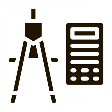Calculator And Dividers Icon Vector. Calculator And Compass Engineering Equipment For Measuring Pictogram. Monochrome Sign isolated symbol illustration icon