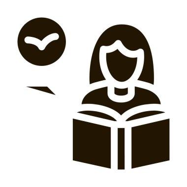 Girl Reading Book About Bird Icon Vector. Woman Reading Ornithology Encyclopedia, Student Education Pictogram. Monochrome Sign isolated symbol illustration icon