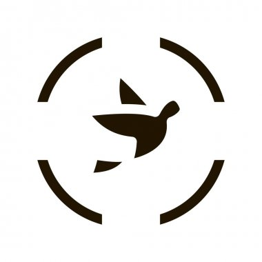 Flying Bird At Gunpoint Icon Vector. Fly Bird And Target, Seasonal Animal Hunting Pictogram. Black And White Sign isolated symbol illustration icon