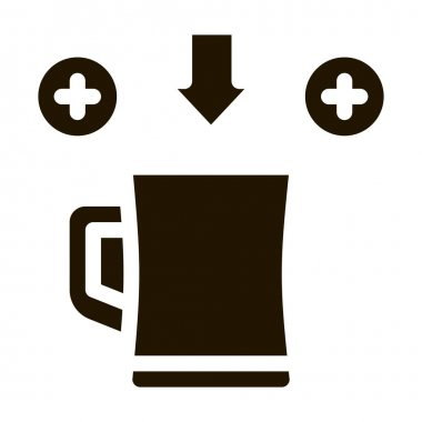 More Beer In Cup glyph icon vector. More Beer In Cup Sign. isolated symbol illustration icon