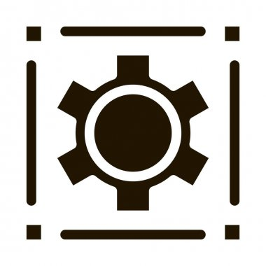 Mechanical Gear glyph icon vector. Mechanical Gear Sign. isolated symbol illustration icon