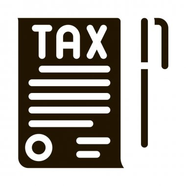 Tax Document Pen glyph icon vector. Tax Document Pen Sign. isolated symbol illustration icon