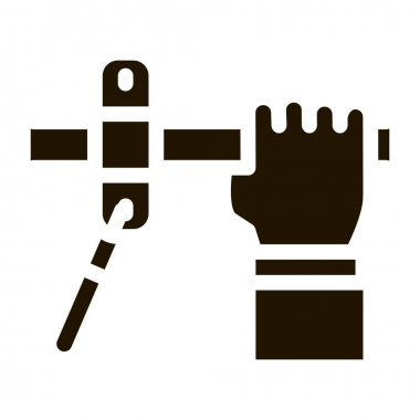 Hand Fastens Pipe glyph icon vector. Hand Fastens Pipe Sign. isolated symbol illustration icon