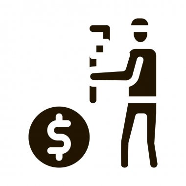 Plumber Fix Cost glyph icon vector. Plumber Fix Cost Sign. isolated symbol illustration icon