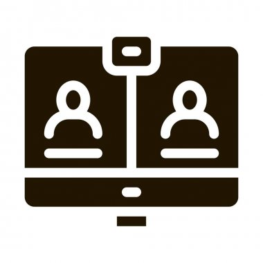 Video Conference glyph icon vector. Video Conference Sign. isolated symbol illustration icon