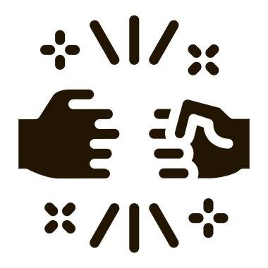 Friend Fist Bump glyph icon vector. Friend Fist Bump Sign. isolated symbol illustration icon