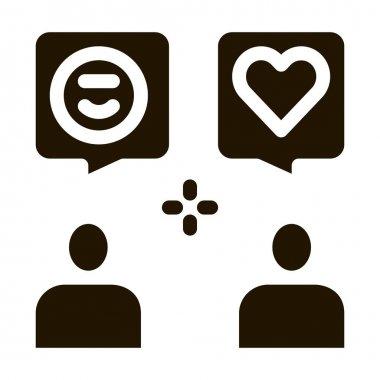 Human Lovely Talk glyph icon vector. Human Lovely Talk Sign. isolated symbol illustration icon
