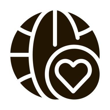Earth Globe Love glyph icon vector. Earth Globe Love Sign. isolated symbol illustration icon