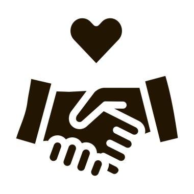 Lovely Handshake glyph icon vector. Lovely Handshake Sign. isolated symbol illustration icon